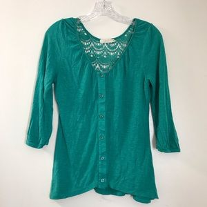 UO Pins and Needles Small Top Green 3/4 Sleeve